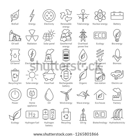 Collection of linear style vector icons  on the theme of electric power. Renewable and non-renewable resources