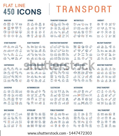 Collection of linear transport icons. Water, air, military, sports, railway, space transport.