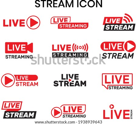 Collection of live stream logo, YouTube live, twitch live logo, live event stickers isolated vector set