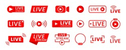 Collection of live streaming icons. Buttons for broadcasting, livestream or online stream. Template for tv, online channel, live breaking news, social media