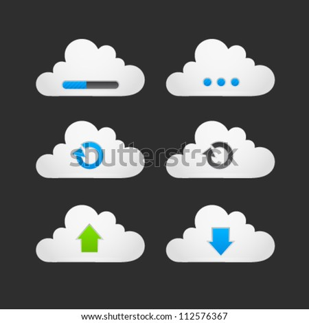 Collection of loading, reload, upload, download and progress bar cloud buttons. Image contains transparency - you can put them on every surface. 10 EPS