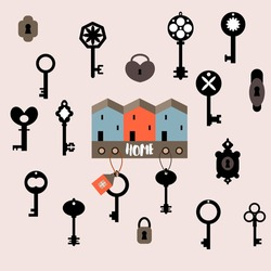 Collection of locks, keys and key rack with houses. Flat style illustration. Vector isolated image on light violet background.