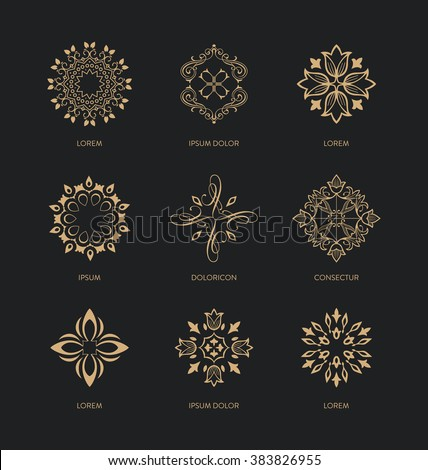 Collection of logo design templates and emblems - trendy linear style - golden colors on black background - Abstract Icon design Set