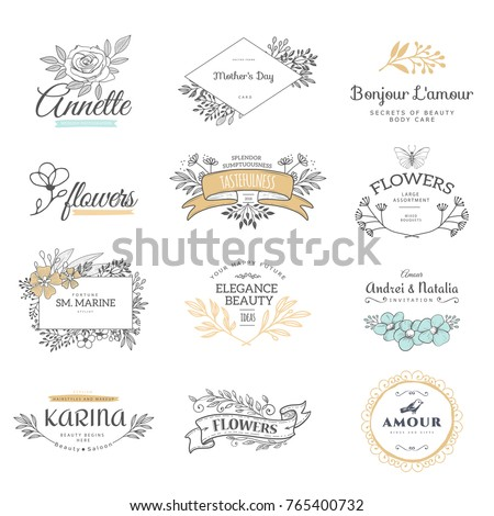 Collection of logo templates. Flourishes calligraphic ornaments and frames. Retro style of design elements, postcard, banners. Vector template