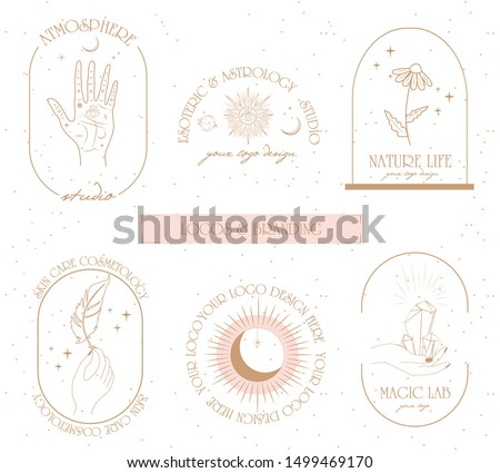 Collection of logos and icons in hand drawn style. Nature, Yoga, Skin care, Personal brand, psychology, astrology and esoteric concept illustration. Editable vector illustration.