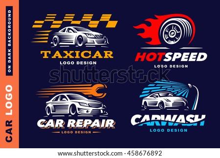collection of logos car  taxi