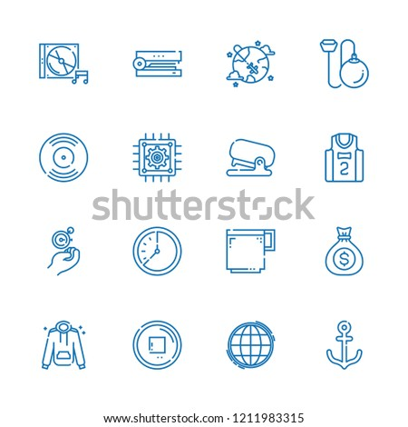 Collection of 16 long outline icons include icons such as cpu, basketball jersey, hammer throwing, dollar coins, cd, stop button, anchor, coffee cup, stapler, vinyl, hoodie