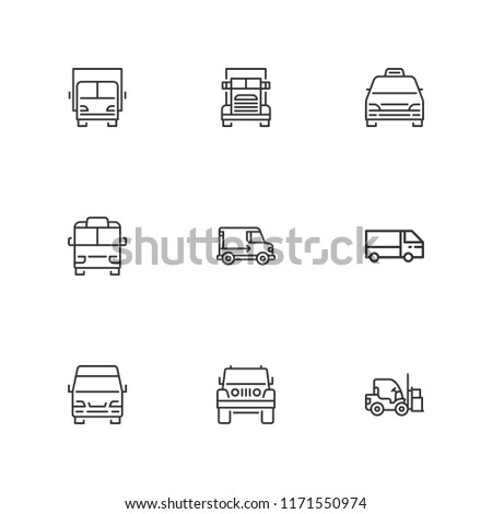 Collection of 9 lorry outline icons include icons such as delivery truck, truck, jeep, lorry, minibus, minivan taxi