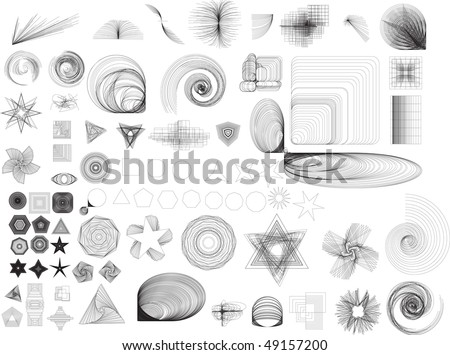 Collection of lots of different abstract shapes. Black and white image. These can be used in all sorts of designs and layouts.