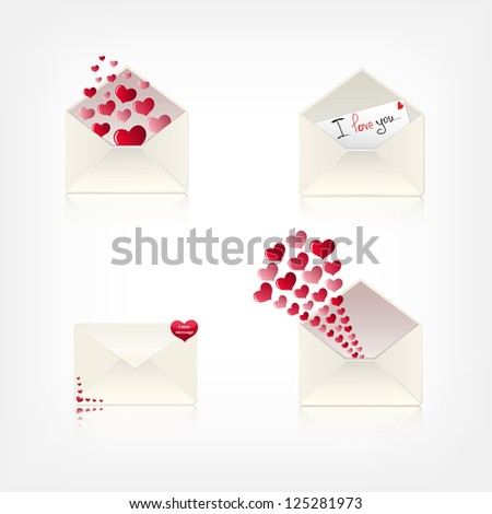 collection of love envelopes. eps10