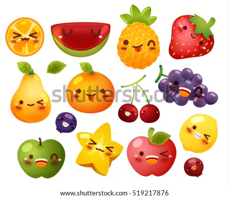 Collection of lovely baby fruit doodle icon, cute strawberry, adorable melon, sweet orange, kawaii berry, girly apple in childlike manga cartoon for kid and baby isolated on white - Vector file EPS10