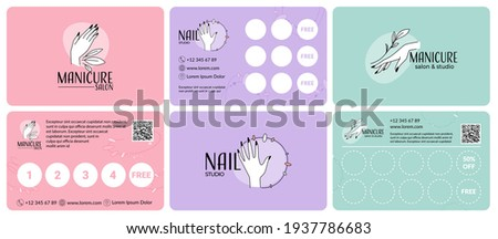 Collection of loyalty cards for manicure service. A set of cards with stickers for the regular clients of the salon. Beautiful hands and nails, vector illustration. Advertising of a manicure room Photo stock ©