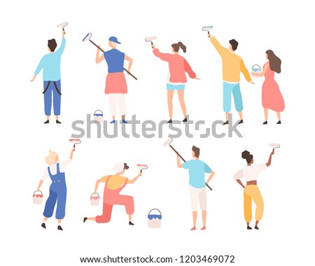 Collection of male and female painters holding paint rollers and painting or writing advertising text on wall. Set of cartoon characters isolated on white background. Flat vector illustration.