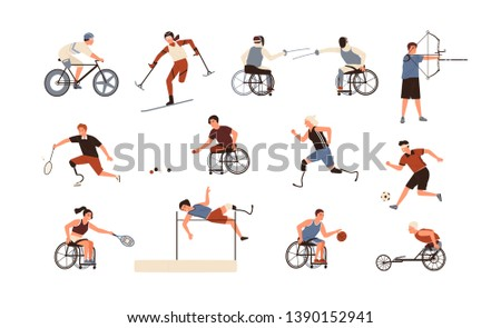 Collection of male and female paralympic athletes isolated on white background. Bundle of disabled people with prosthetic limbs performing sports activities. Flat cartoon vector illustration.