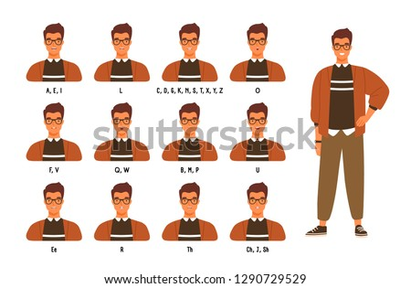 Collection of male character s lips or mouth positions for various sounds. Animation set of young man or boy speaking or pronouncing English letters. Colored vector illustration in flat cartoon style.