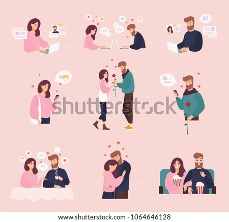 Collection of man and woman using website or mobile application for dating or searching for romantic partner on internet. Cute couple that met online. Flat cartoon colorful vector illustration.