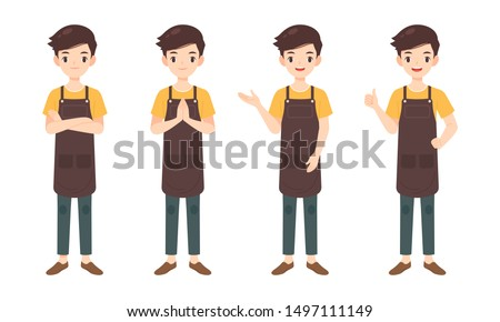 Collection of man character in many pose, shop assistance mascot,flat cartoon vector illustration Foto stock ©