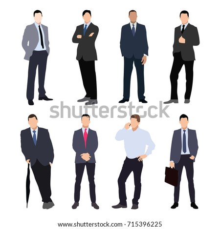 Collection of man silhouettes, dressed in business style. Formal suit, tie, different poses. Flat style vector image.