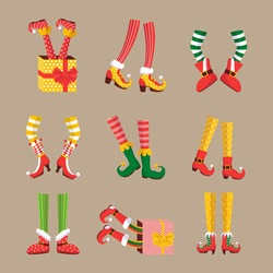 Collection of many elf's legs. Shoes for elves feet, feet of gnomes-assistants of Santa Claus in a set of pants. Shoes, funny striped socks and boots. Vector illustration