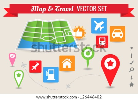 Collection of Map and Travel Icons and Markers
