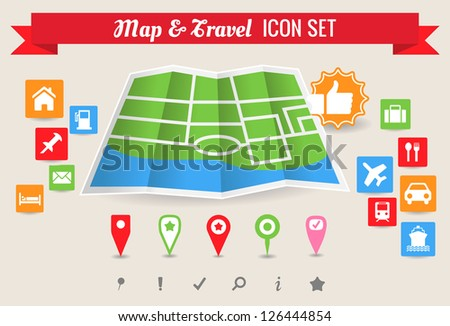 Collection of map and travel vector symbol and icons
