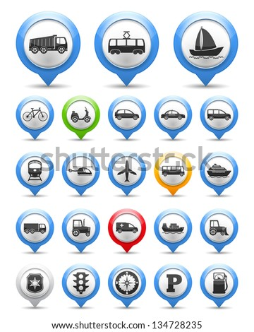 Collection of map markers with transport icons, vector eps10 illustration