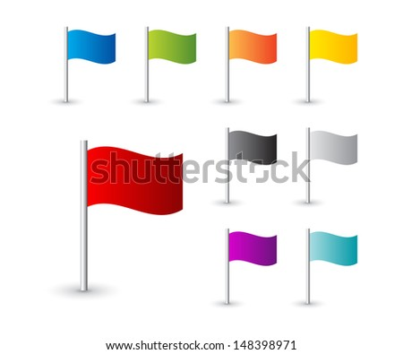 Collection of map pin flags