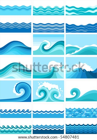 collection of marine waves, stylized design