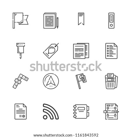 Collection of 16 mark outline icons include icons such as agenda, documents, point of service, dominoes, flag, gift tag, rss, document, file, list, bookmark, documentation