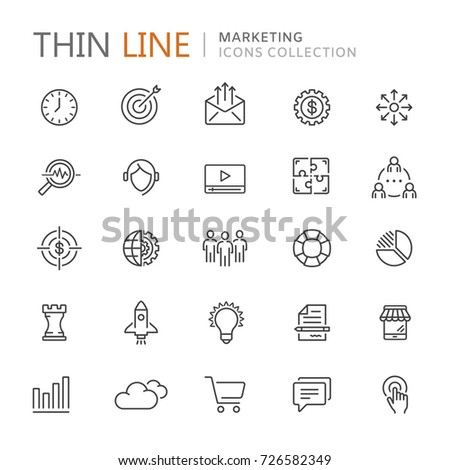Collection of marketing thin line icons