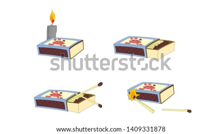 Collection of matches. Burning match with fire.Opened matchbox, burnt matchstick. Flat design style. Vector illustration isolated on white background
