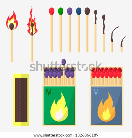 Collection of matches. Burning match with fire, opened matchbox. Flat design style.