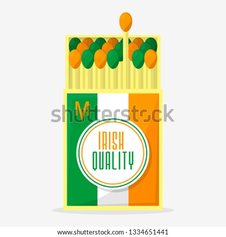 Collection of matches.Irish matches quality,opened matchbox. Flat design style for ST.Patricks day