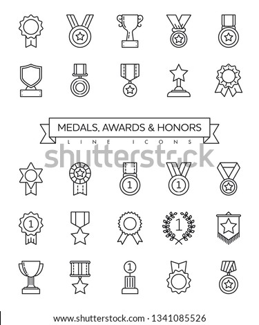 Collection of medal, awards, cups and honors line icons vector illustration. Competition and success symbols.
