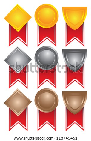 Collection of medals in gold, silver and bronze. Vector illustration