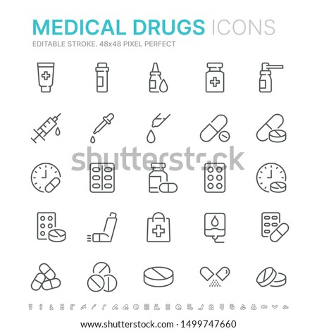 Collection of medical drugs related line icons. 48x48 Pixel Perfect. Editable stroke