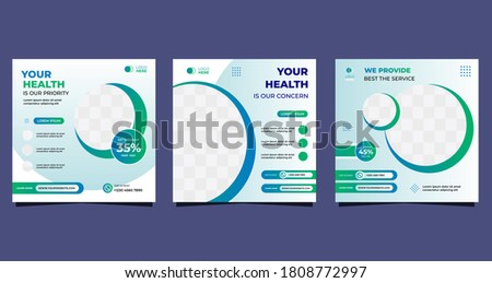 Collection of Medical social media post template for hospital and clinic. with green and white background
