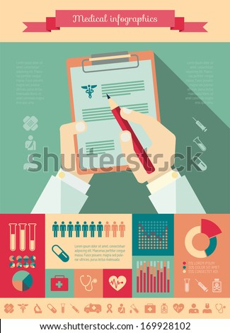 Collection of medical vector infographic elements. Doctor report vector illustration with various of infographic elements as charts, diagrams and medical infographic metaphors for data visualization.
