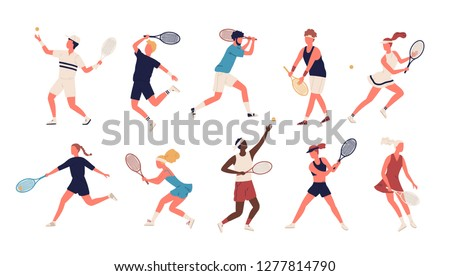 Collection of men and women dressed in sports apparel playing tennis. Set of sportsmen and sportswomen holding rackets and hitting ball isolated on white background. Flat cartoon vector illustration.