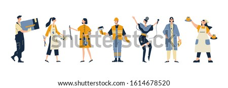Collection of men and women of various occupations or profession wearing professional uniform - construction worker, physician, pastry chef, singer, musician, artist, builder. Flat cartoon vector .