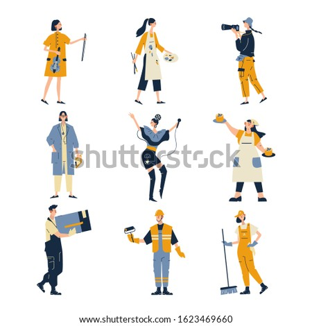 Collection of men and women of various occupations or profession wearing professional uniform - construction worker, physician, pastry chef, singer, musician, artist, builder. Flat cartoon vector.