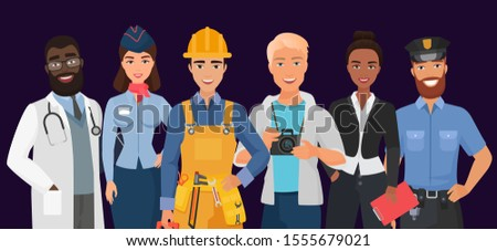 Collection of men and women people workers of various different occupations or profession wearing professional uniform set. Doctor, stewardess, builder, photographer, business woman, police officer