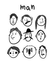 Collection of men's faces with different emotions.