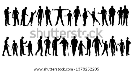 Collection of mens silhouettes. Set of different male silhouettes isolated on white background. Vector illustration