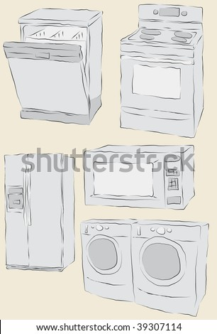 Collection of messy hand drawn home appliances. Each item fill and outlines are on separate layers.