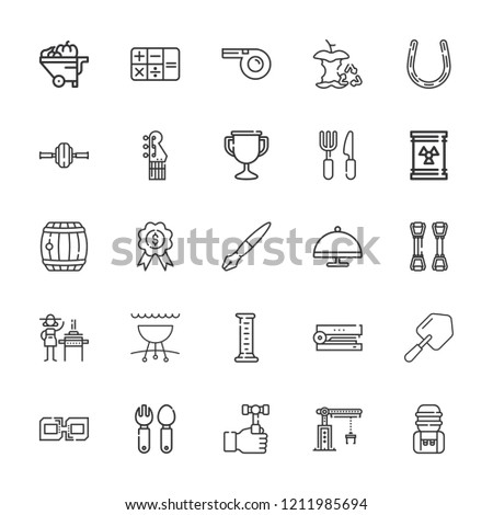 Collection of 25 metal outline icons include icons such as waste, calculator, hammer, cutlery, cylinder, whistle, fountain pen, serving dish, electric guitar, stapler, barrel