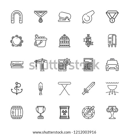 Collection of 25 metal outline icons include icons such as waste, crane, calculator, ice bucket, magnet, medal, sword, taxi, tambourine, whistle, stapler, barrel, trophy