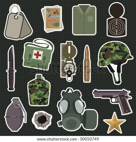 collection of military stickers