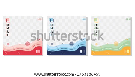 Collection of minimalist abstract background with modern and mockup frame concept, wave shapes with memphis style. Suitable for social media post templates, brochure, flyer, sale banner etc