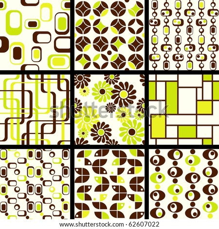Collection of mod seamless patterns in green and brown (Eps10); jpg version also available